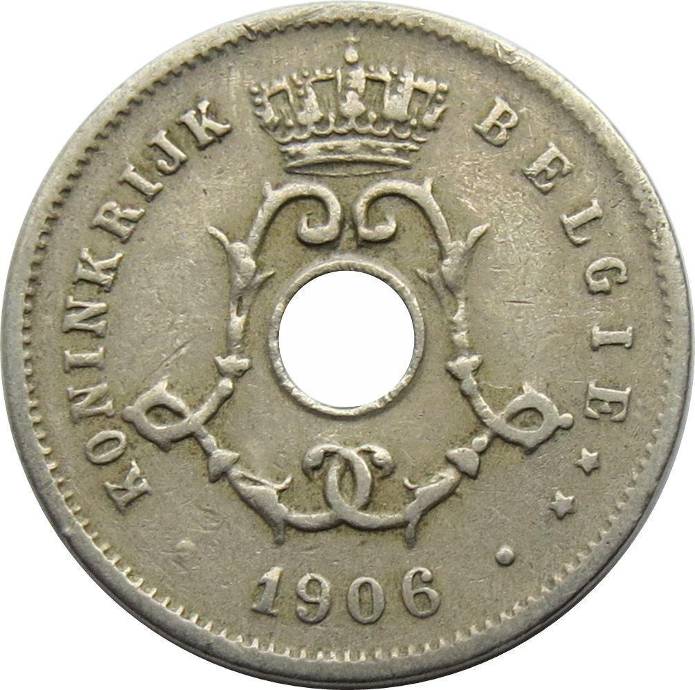 Belgium 5 Centimes (1904-1907 Léopold II-Dutch text)