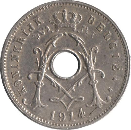 Belgium 5 Centimes (1910-1931 Albert I-Dutch text)