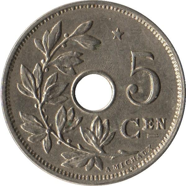 Belgium 5 Centimes (1930-1931 Albert I-Dutch text)