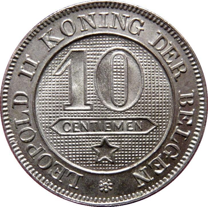 Belgium 10 Centimes (1894-1901 Léopold II-Dutch text)