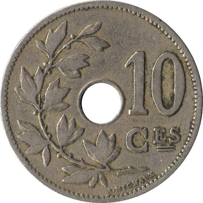 Belgium 10 Centimes (1901-1903 Léopold II-French text)