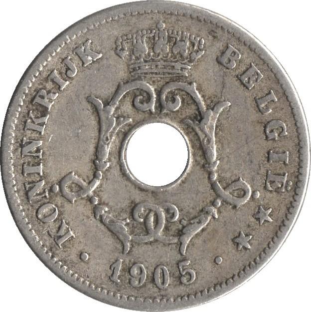 Belgium 10 Centimes (1903-1906 Léopold II-Dutch text)