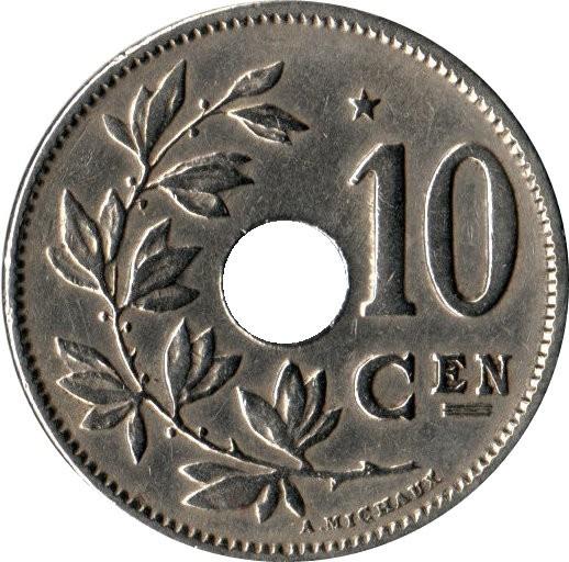 Belgium 10 Centimes (1930-1931 Albert I-Dutch text)