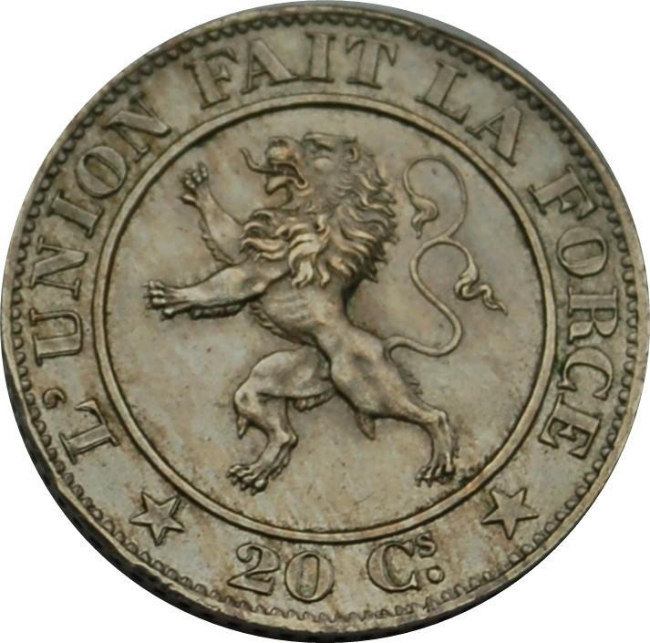 Belgium 20 Centimes (1860-1861 Léopold I)