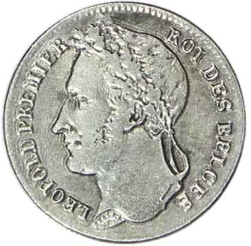 Belgium ¼ Franc (1834-1844 Léopold I)