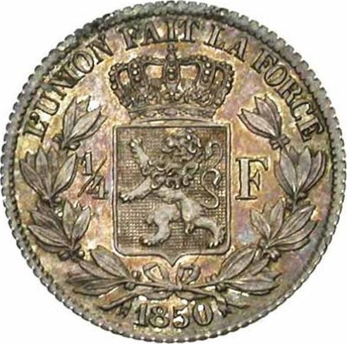 Belgium ¼ Franc (1849-1850 Léopold I)