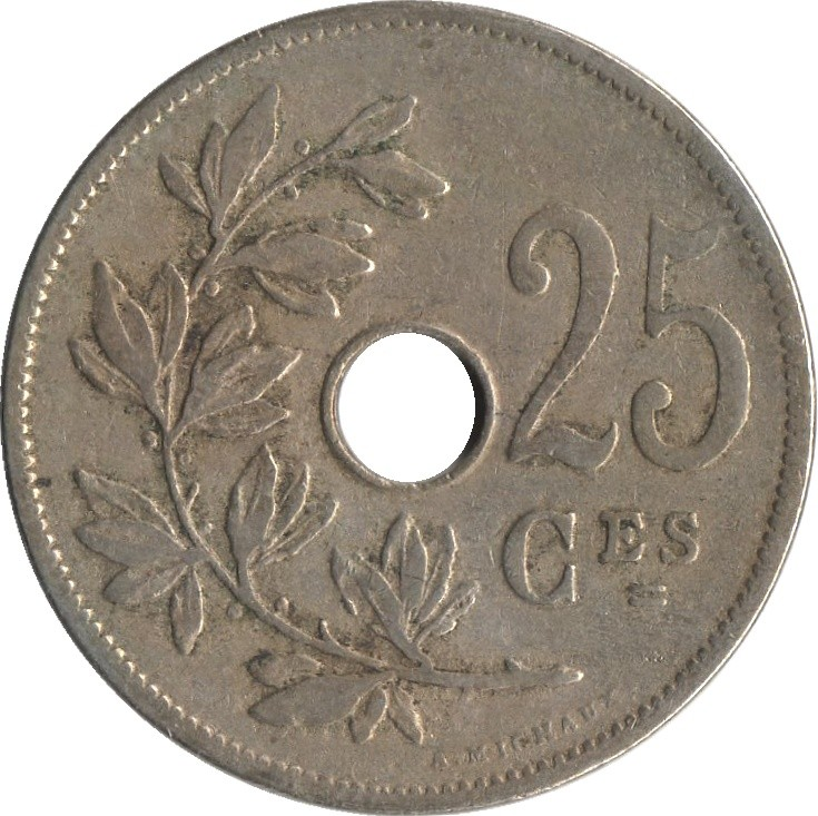 Belgium 25 Centimes (1908-1909 Léopold II-French text)