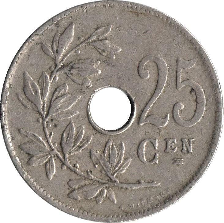 Belgium 25 Centimes (1910-1929 Albert I-Dutch text)