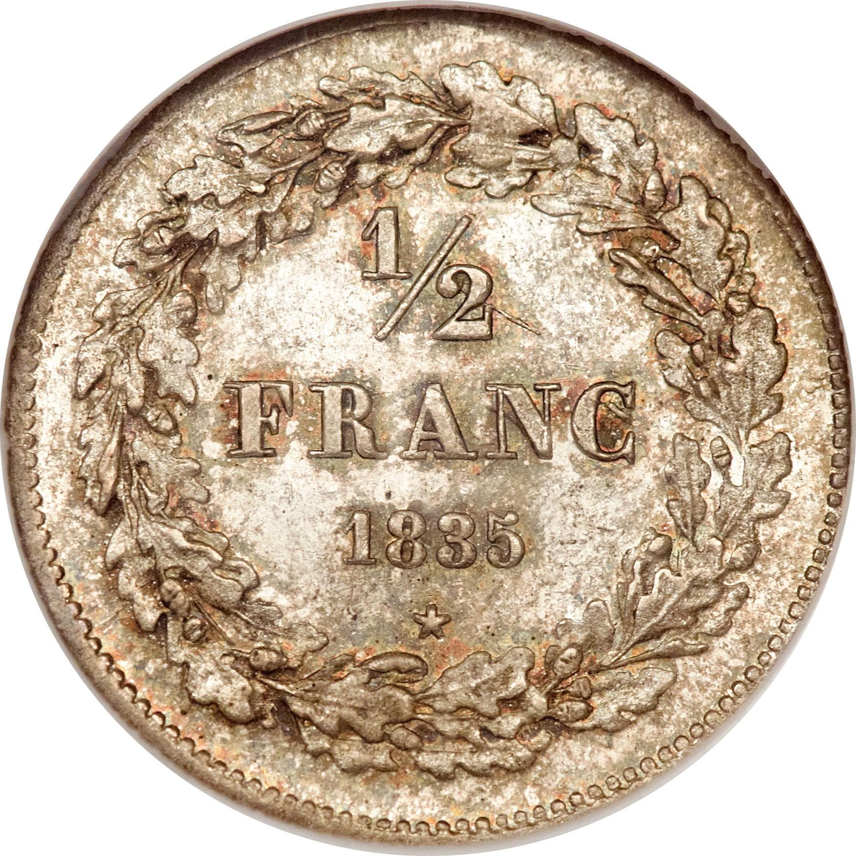 Belgium ½ Franc (1833-1844 Léopold I)