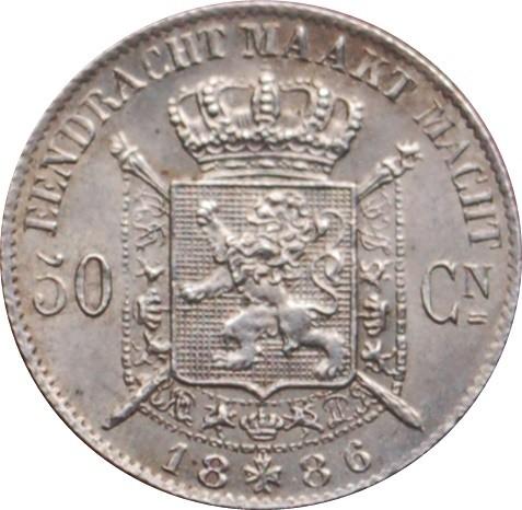 Belgium 50 Centimes (1866-1899 Léopold II-Dutch text)