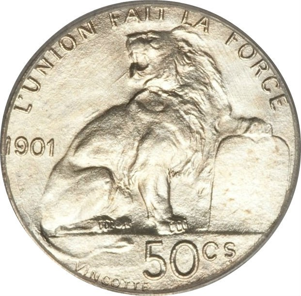 Belgium 50 Centimes (1901 Léopold II-French text)
