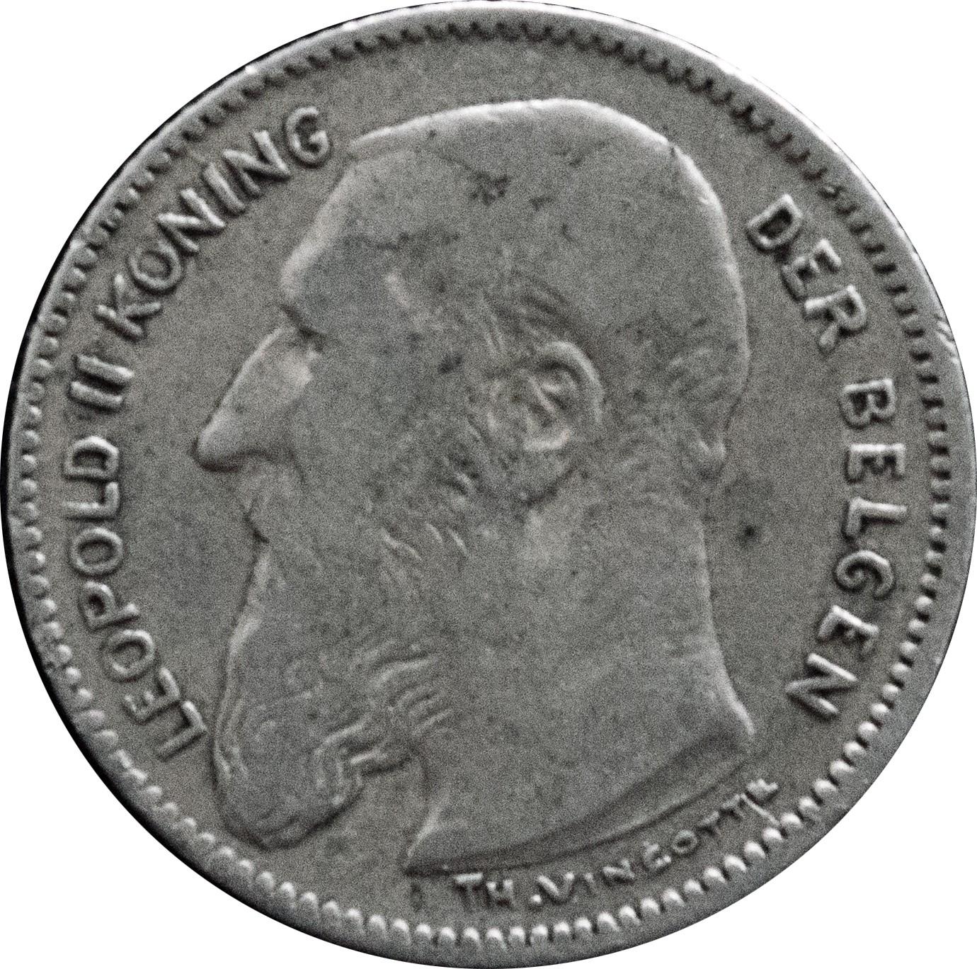 Belgium 50 Centimes (1907-1909 Léopold II-Dutch text)