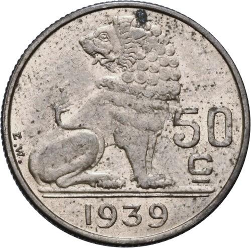 Belgium 50 Centimes (1939 Léopold III)
