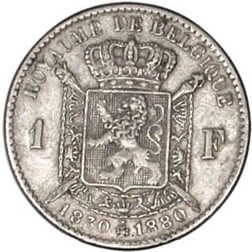 Belgium 1 Franc (1880 Léopold II-Independence)