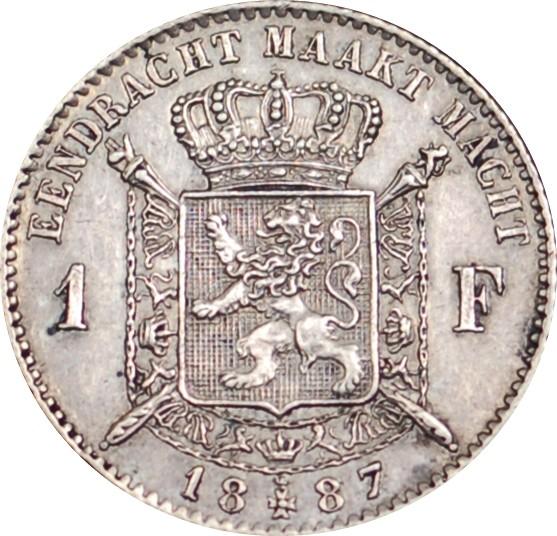 Belgium 1 Franc (1886-1887 Léopold II-Dutch text)