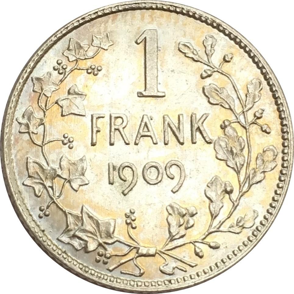Belgium 1 Franc (1904-1909 Léopold II-Dutch text)