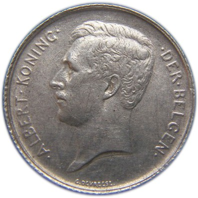 Belgium 1 Franc (1910-1918 Albert I-Dutch text)