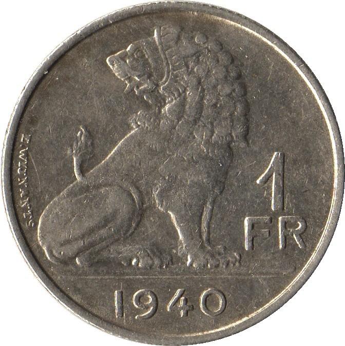 Belgium 1 Franc (1939-1940 Léopold III)
