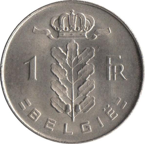 Belgium 1 Franc (1950-1988 Baudouin I-Dutch text)