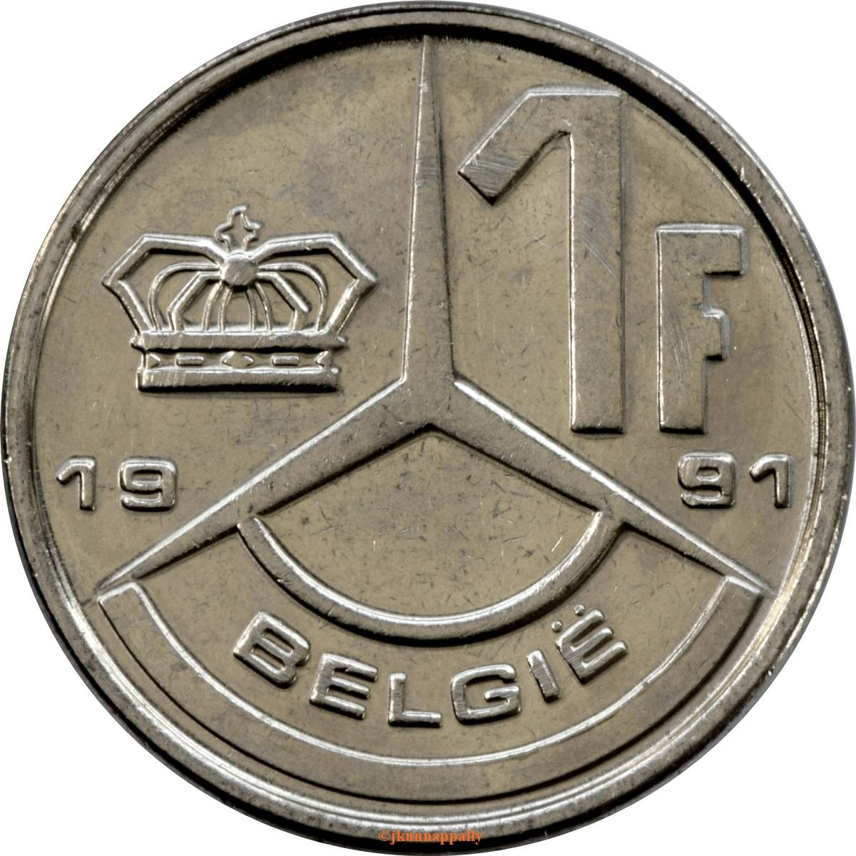 Belgium 1 Franc (1989-1993 Baudouin I-Dutch text)