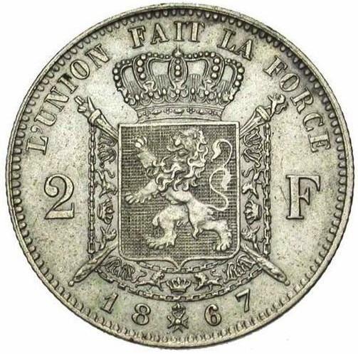 Belgium 2 Francs  (1866-1868 Léopold II-French legend)