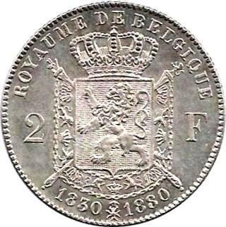 Belgium 2 Francs  (1880 Léopold II-Independence)