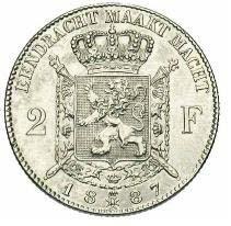 Belgium 2 Francs  (1887 Léopold II-Dutch legend)