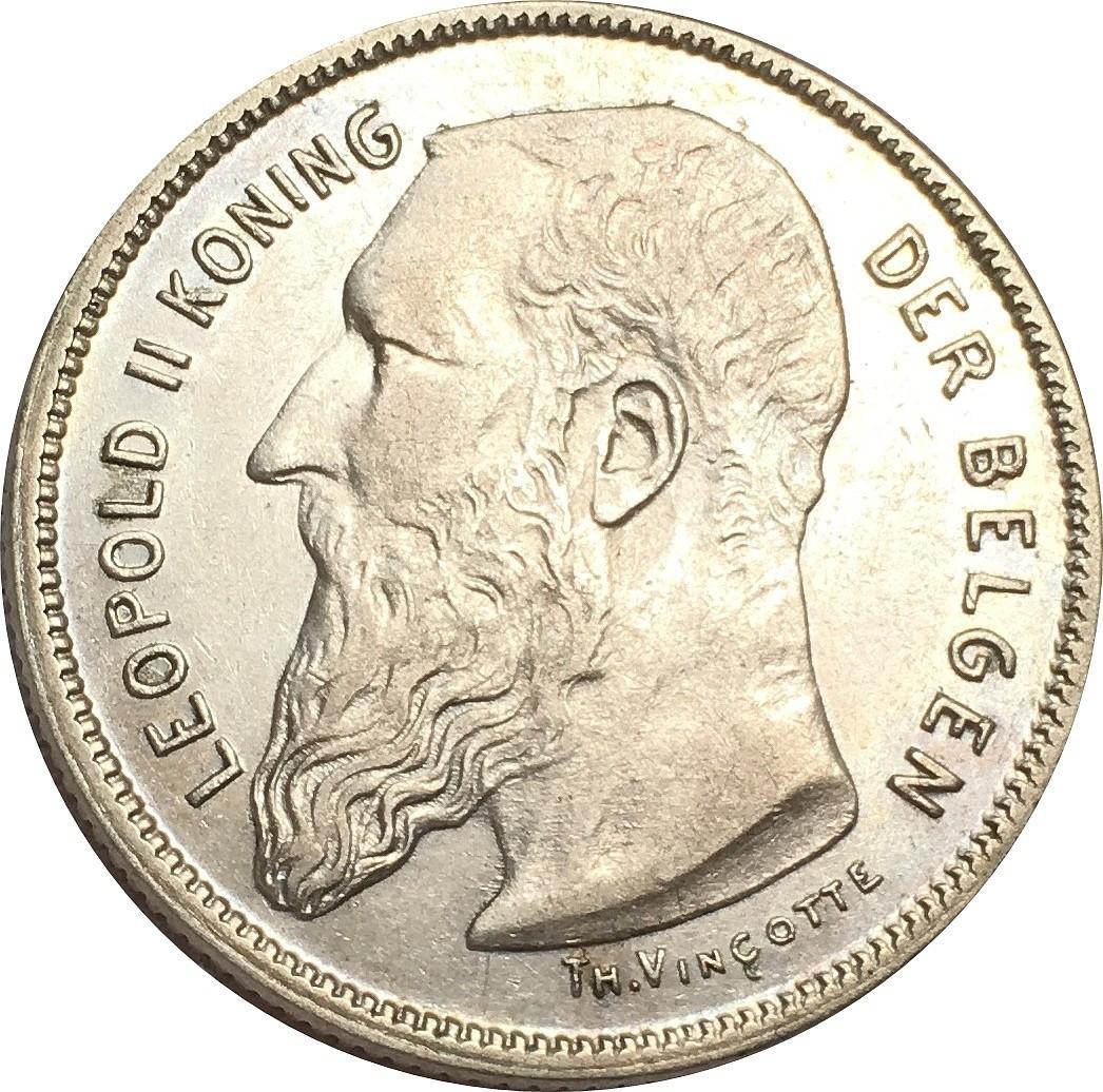 Belgium 2 Francs  (1904-1909 Léopold II-Dutch legend)