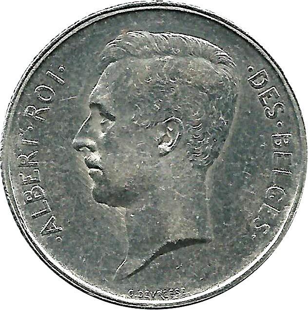 Belgium 2 Francs  (1910-1912 Albert I-French text)