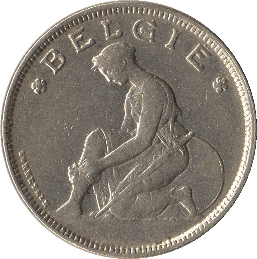 Belgium 2 Francs  (1923-1930 Albert I-Dutch text)