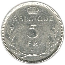 Belgium 5 Francs  (1936-1937 Léopold III-French text)