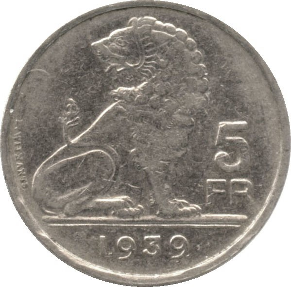 Belgium 5 Francs  (1938-1939 Léopold III)