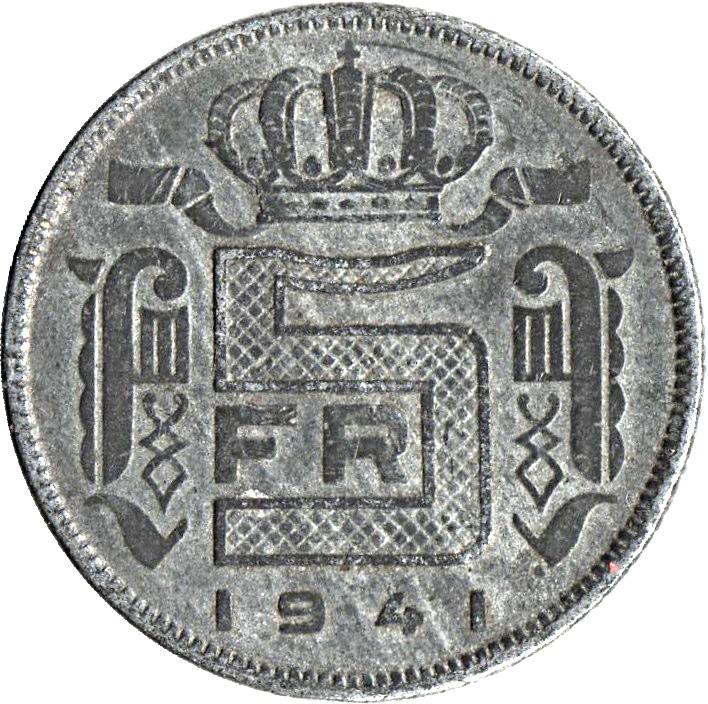 Belgium 5 Francs  (1941-1947 Léopold III-Dutch text)