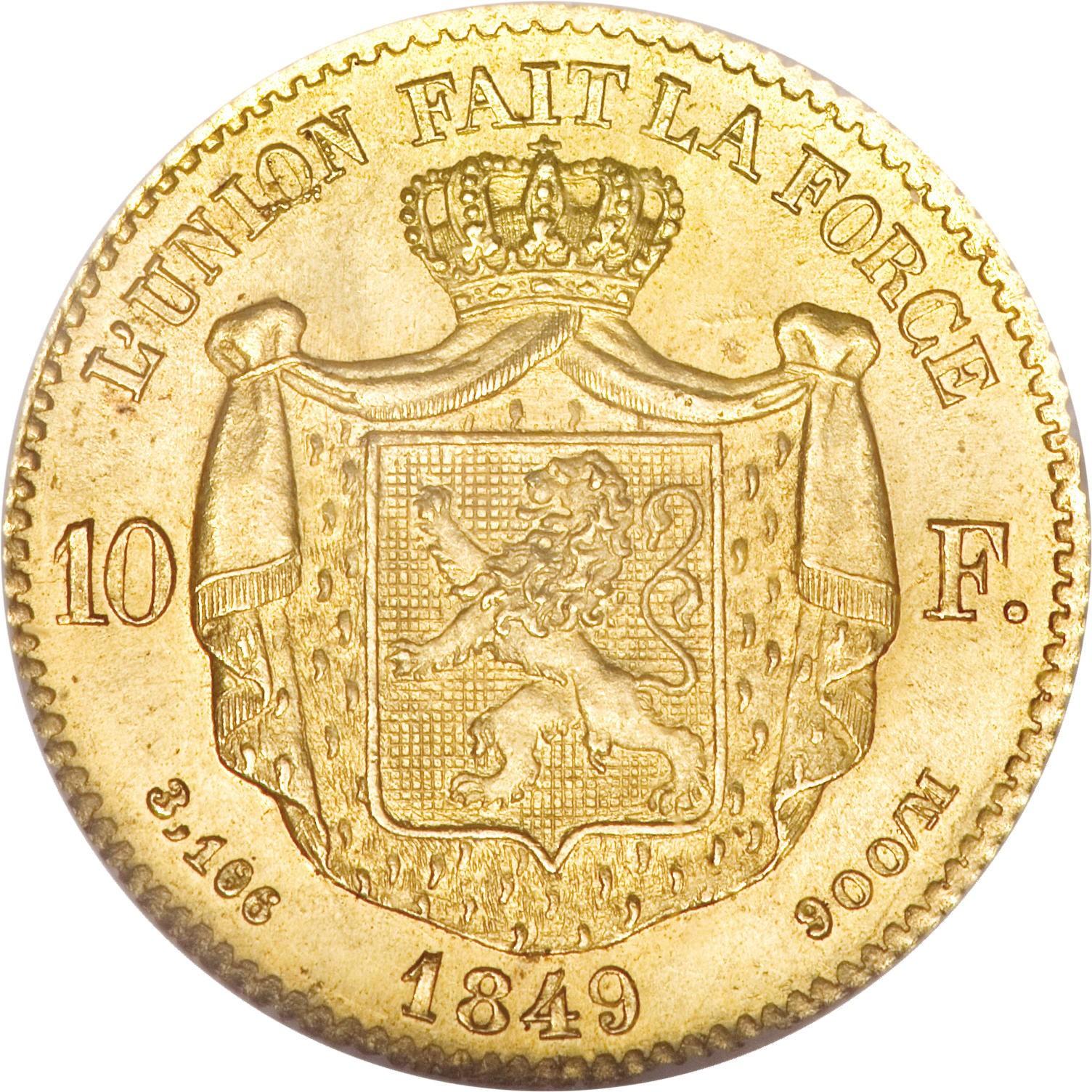 Belgium 10 Francs (1849-1850 Léopold I)