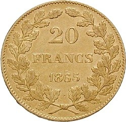 Belgium 20 Francs (1864-1866 Léopold I)