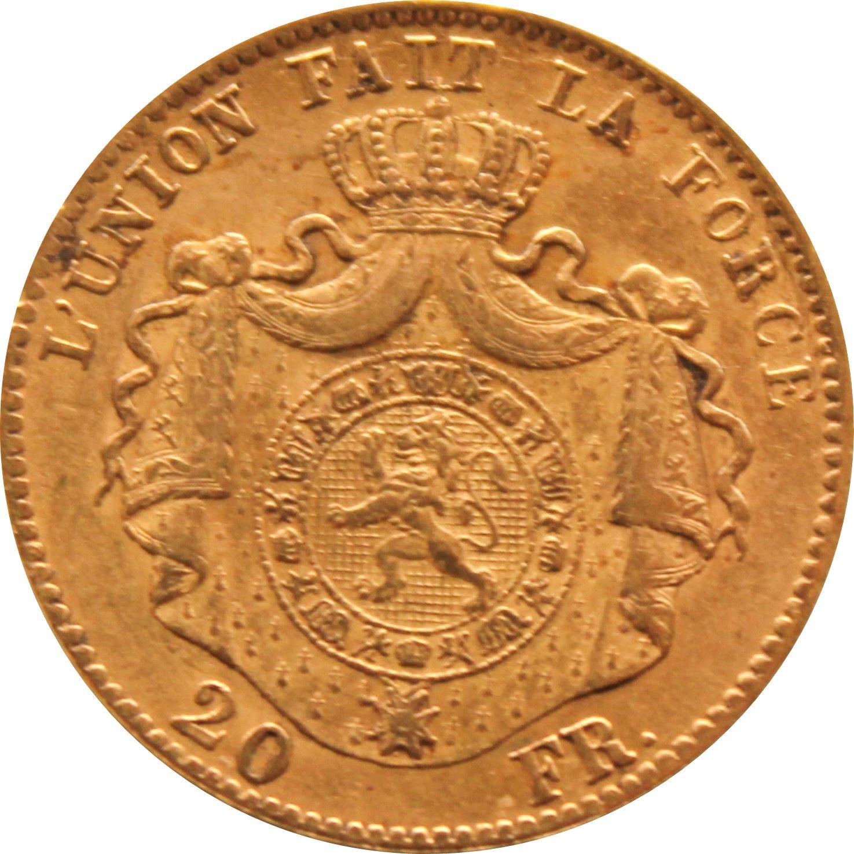 Belgium 20 Francs (1867-1870 Léopold II Heavy Coarser Beard)