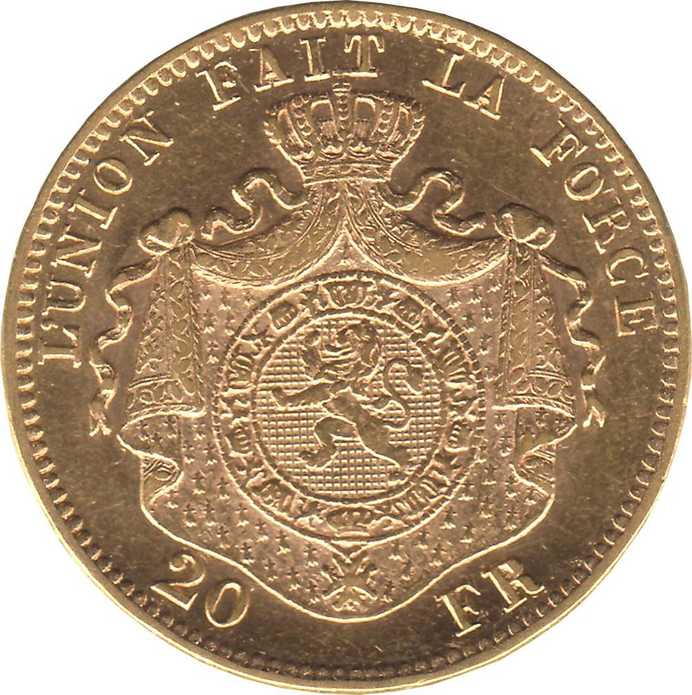 Belgium 20 Francs (1870-1882 Léopold II Finer Beard)
