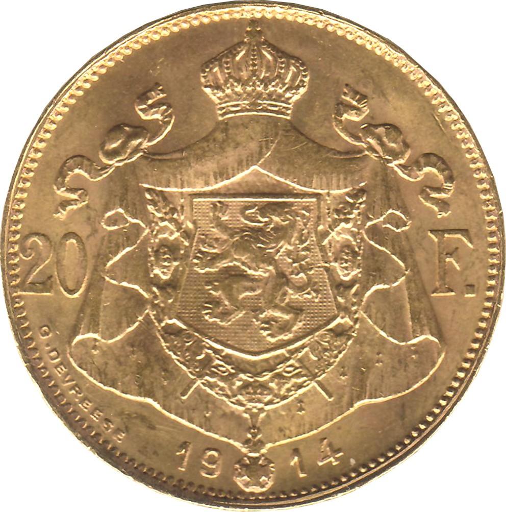 Belgium 20 Francs (1914 Albert I-Dutch text)