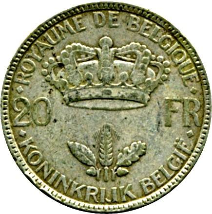 Belgium 20 Francs (1934-1935 Léopold III)