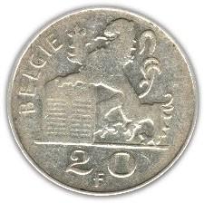 Belgium 20 Francs (1949-1955 Baudouin I-Dutch text)