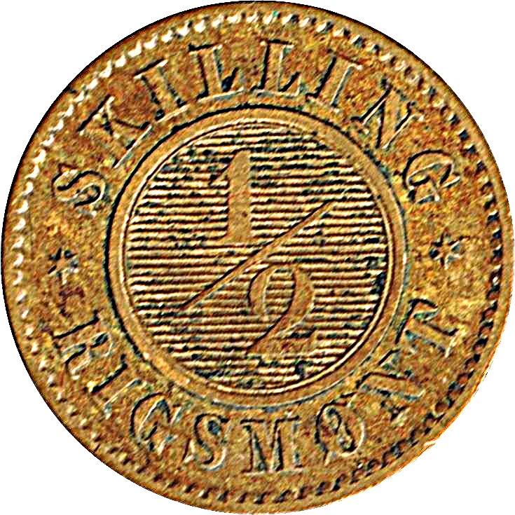 Denmark ½ Skilling Rigsmønt (1836-1839 Frederik VII)