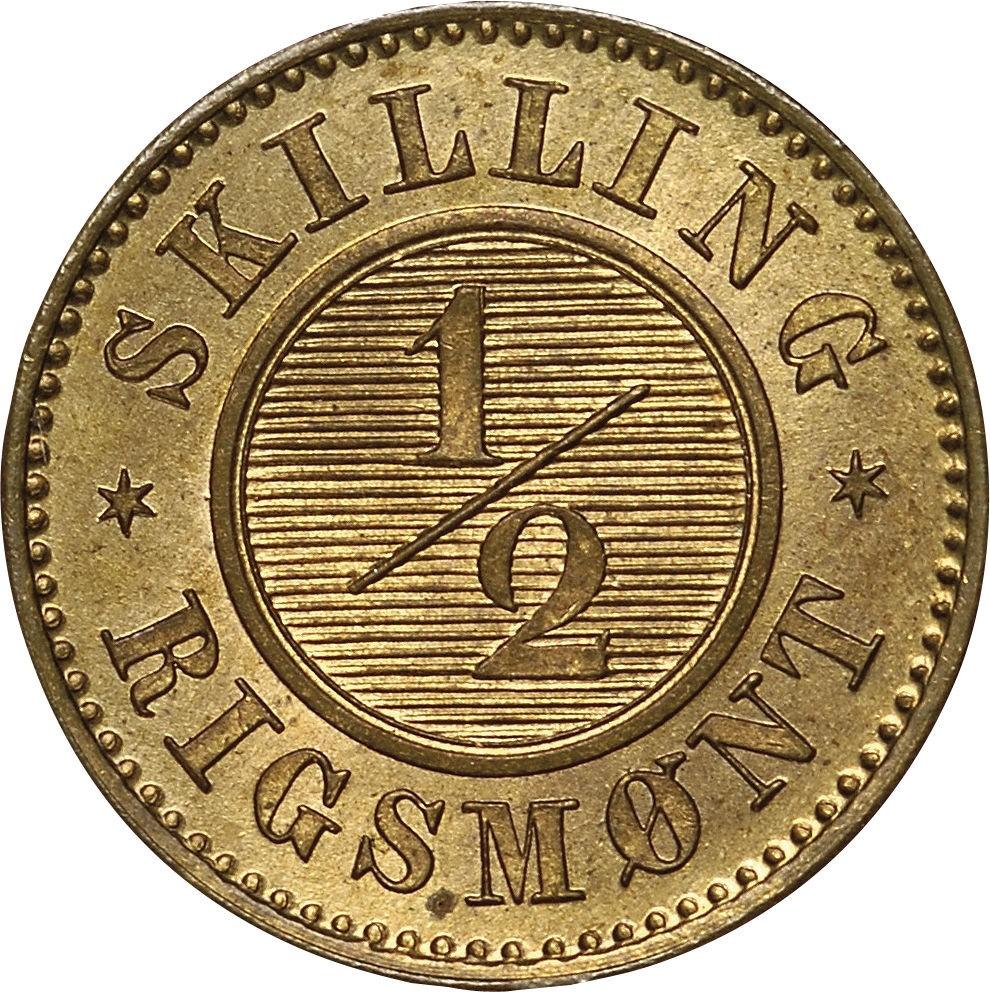 Denmark ½ Skilling Rigsmønt (1868 Christian IX)