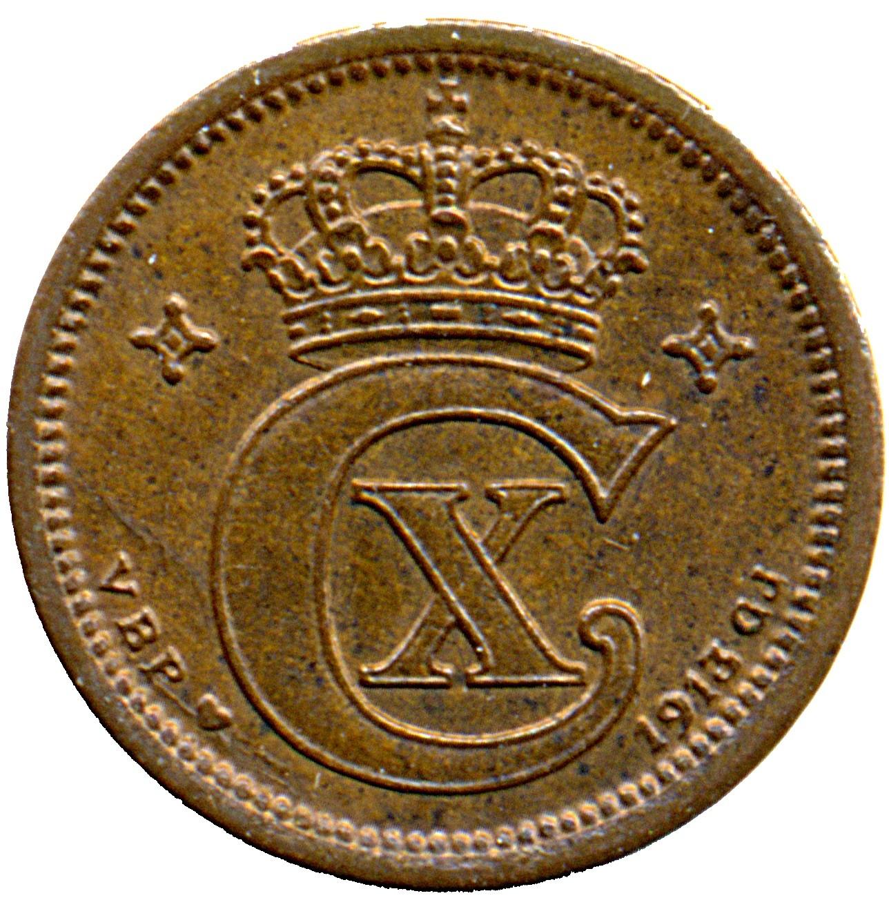 Denmark 1 Øre  (1913-1923 Christian X)