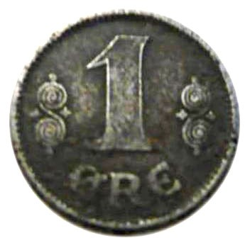 Denmark 1 Øre  (1918-1919 Christian X)
