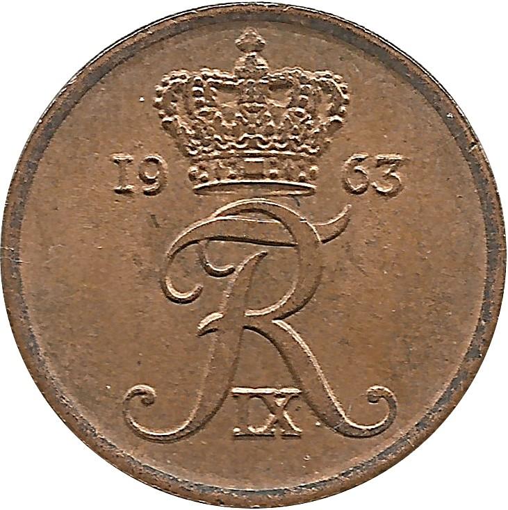 Denmark 1 Øre  (1960-1964 Frederik IX)