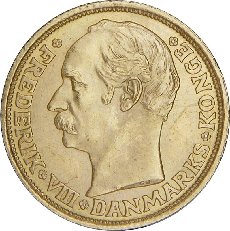 Denmark 10 Kroner (1908-1909 Frederik VIII)